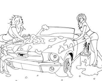 coloring page instant download sexy girls washing ford mustang cabrio nude foams erotic car show jpg
