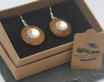 Wood Turned Oak Root, Drop Earrings, 925 Sterling Silver Findings, Circle, Dome, Unique, Handcrafted, Wooden Earrings