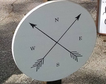 Nautical/Compass Arrow Wooden Sign, Round