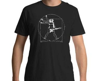 Vitruvian Rocker Guitar T Shirt For Music Or Musician Art Gift Lover