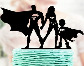 Superman and Wonder Woman with kids, Super Hero  Family Topper,  Superman and Wonder Woman Topper,  Superhero Silhouette, Superhero Topper