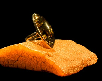 "Amber Ring with Silver ""The Green Dream"""