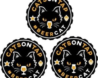 CatsOnTap #BeerCat sticker set (3 stickers)