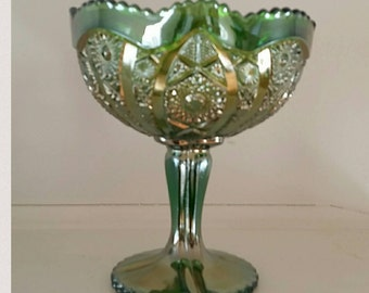 Vintage Green Carnival Glass Stemmed Compote Candy Dish
