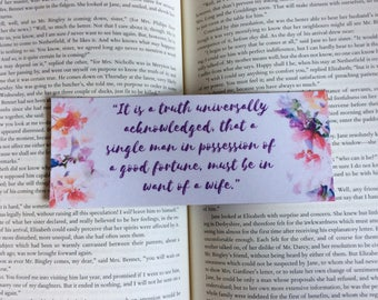 Jane Austen Pride and Prejudice Quote Bookmark