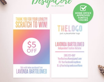 Scratch Off Card, Scratch to Win, Home Office Approved, Personalized, Clean Simple Design, Digital Files, Marketing, Fashion, DCSOC007