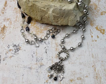 Long Necklace with Pendant | Long Necklace | Grey Pearl Necklace | Pendant Necklace | Silver Blue Necklace | Everyday Necklace