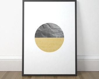 Modern Abstract Printable, Scandinavian Circle Print, Modern Circle Art Mustard, Minimalist Circle Art, Instant Download, Digital Print