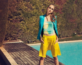 Silk modal yellow harrem shorts