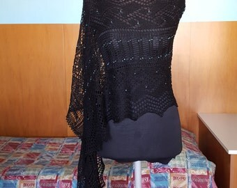 Victorian Black Lace scarf with blue beads