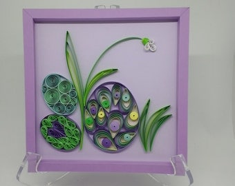 "Quilling ""Easter Egg Hunt"" Wall Decor.  Includes Hand Crafted Color Coordinated Paper Frame and Gift Package ready for hanging or giving."