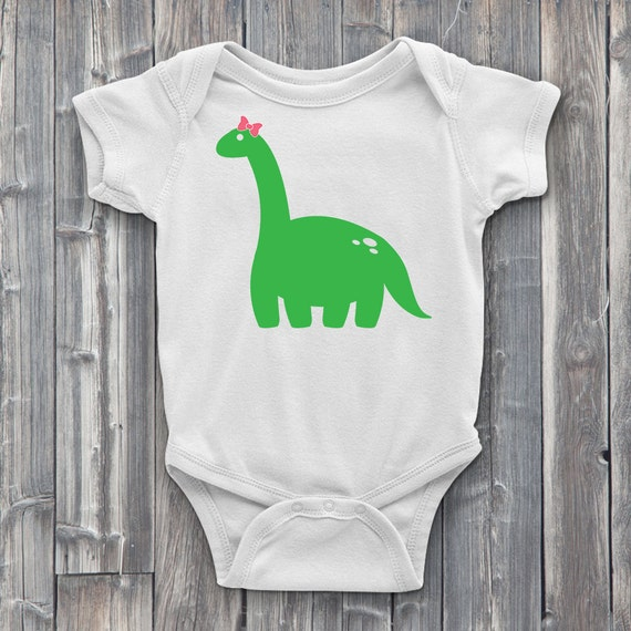 Dinosaur With Red Bow 100% Soft Cotton Baby ONESIE