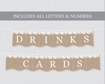 printable wedding banner rustic burlap and lace wedding banners with all letters and numbers