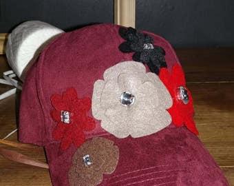 burgundy baseball hat with felt flowers