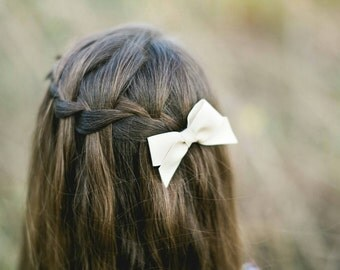 Regular White Faux Leather Hair bow -  Attached to nylon headband or Clip