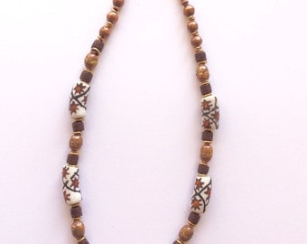 A lovely Krobo glass necklace mixed with copper and bone beads