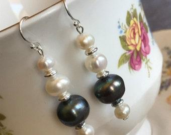 Tre Pearl & Grey Pearl Sterling Silver Earrings