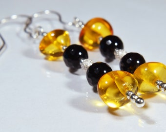 Baltic Amber Earrings, Black Onyx Earrings, Sterling Silver, Evening Earrings, Unique Earrings, Modern Earrings, Elegant Gift For Her