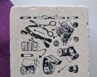 Sewing Scheme Coasters, set of 4, Natural Tumbled Stone Coasters, crafts, scissors,  needle and thread