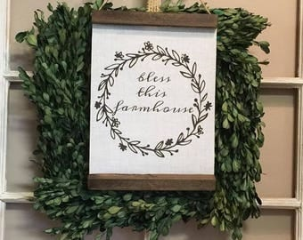 bless this farmhouse sign, blessed, sign, farmhouse sign, wall decor, wall hanging, farmhouse decor