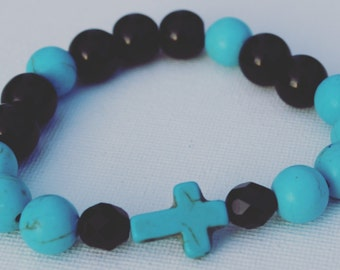 Turquoise Howlite and Black Agate Cross Bracelet