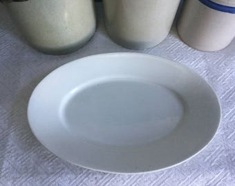 White Ironstone Platter made by Greenwood China Trenton NJ ~ Long Oval Serving Platter