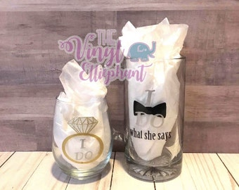 "Couples ""I Do"" Wine Glass and Beer Mug"
