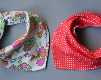 White polka dot bib, Cotton bib set, Cotton bibs, Soft cotton bib, Birds bandana bib, Soft bandana bib, Scarf baby bib, Baby scarf, Red bibs
