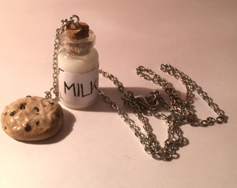 Milk and cookies chain bottle charm