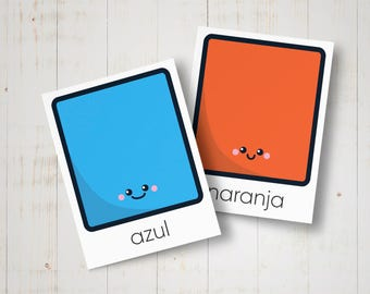 Flashcards Spanish colors for kids - Print, cut and learn Spanish - Printable spanish educational cards for preschool - Montessori inspired