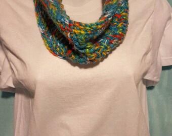 Multicolor infinity scarf - handmade