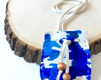 Tie Dyed Buckskin Medicine Bag
