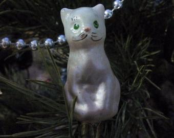 Cat Christmas glass ornament, Christmas Decoration, Vintage Christmas, vintage soviet new yaer, retro Christmas decoration