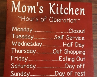 11.25 x 13 Mom's Kitchen wooden sign