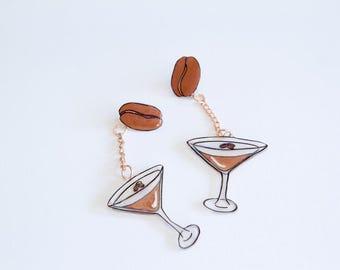 Espresso Martini shrink plastic dangle earrings