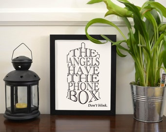 The Angels Have the Phone Box Tardis Wall Art | Don't Blink | Doctor Who | Whovian | Printable Art