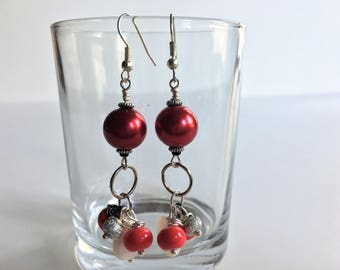 Pink, white and silver dangle earrings