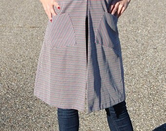 60's 70's Mad Men Secretary vest dress in checkered plaid print/ red-white-and blue / Women's summer vintage clothing / Unique/ Small/Medium