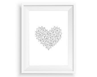 Heart Print, Geometric Printable Heart, Love Heart Artwork, Modern Wall Art, Minimalist Heart Art, Valentine Gift Idea, Scandinavian Poster