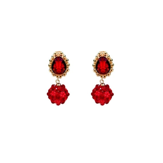 Red Ruby Beaded Ball Victorian Modern Classic Stud Earrings