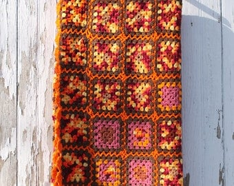 Orange and brown handmade vintage granny square afghan, polyester, crochet blanket, purple and yellow, scalloped edge