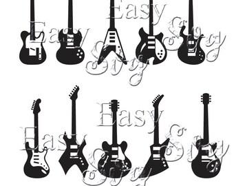 10 Guitars svg / eps / dxf / studio / png / jpg / dxf / pdf