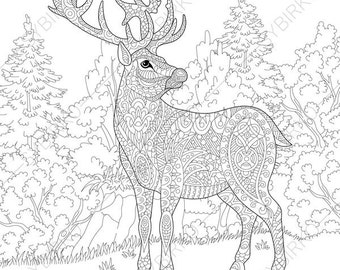 Deer. Reindeer. Coloring Pages. Animal Coloring Book Pages For Adults.  Instant Download