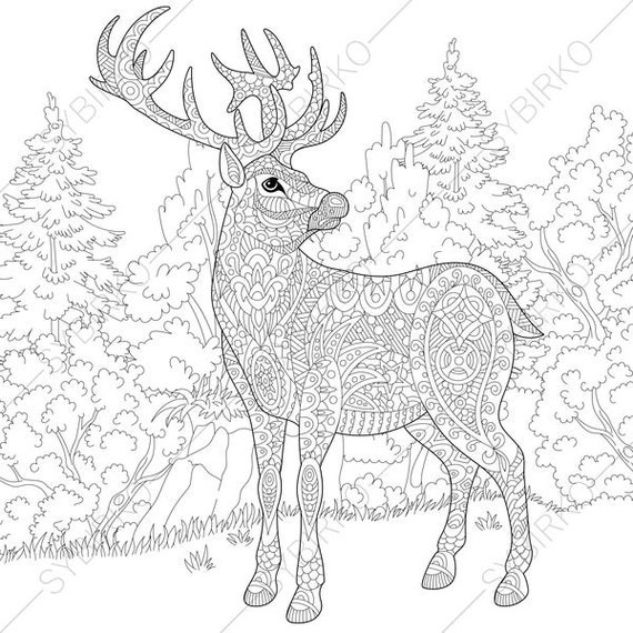 Adult Coloring Pages Christmas Deer Reindeer Zentangle