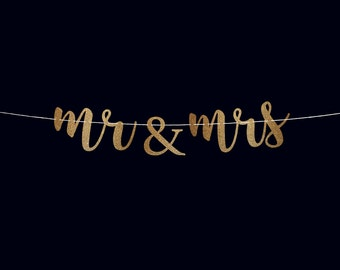 Mr and mrs banner wedding reception banner wedding decorations glitter banner wedding reception sign wedding party banner mr and mrs sign