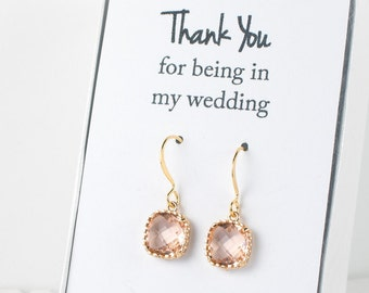 Peach Gold Earrings, Gold Peach Square Earrings, Champagne Gold Earrings, Blush Gold Earrings, Bridesmaid Jewelry, Blush Wedding Jewelry