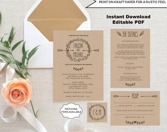 Rustic Wedding Invitation Template Set EDITABLE Invite RSVP Details Monogram Tag Printable Arrow Wreath Laurels Bohemian Kraft Garden PCRWWS