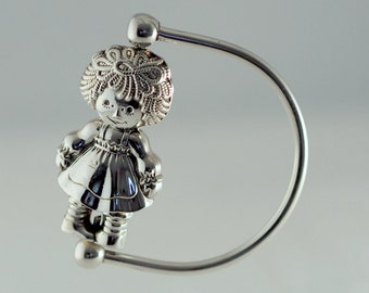Raggedy Ann Vintage Gift For Christening Baby Shower Silver Rattle by Cazenovia Abroad NYC Made in Portugal Great