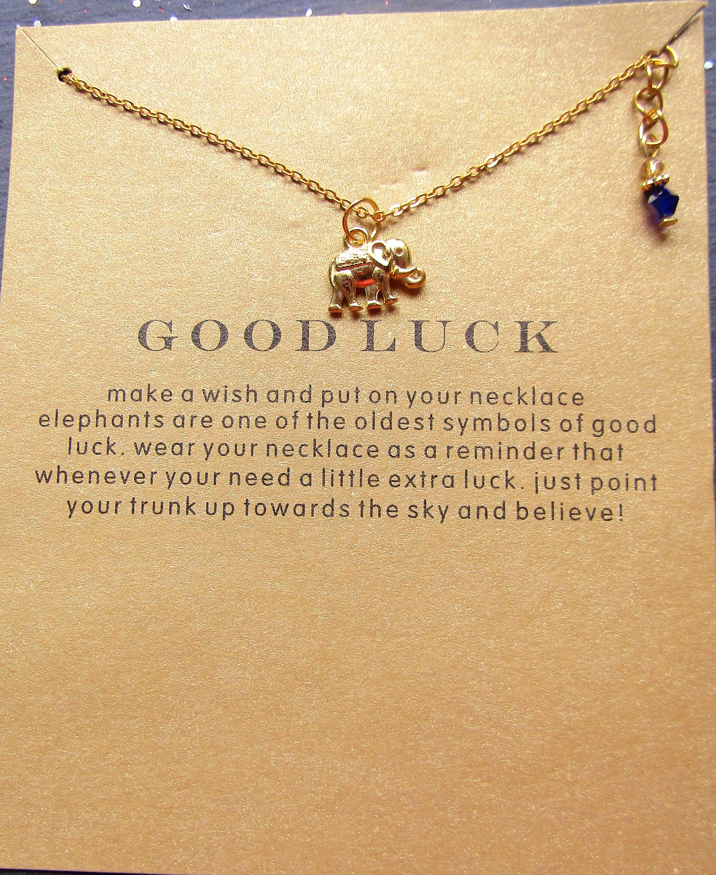 Good Luck Elephant Necklace with Gift Card Gold plated/ Gift