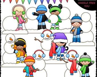Build A Snowman Kids Clip Art and B&W Set